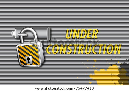 illustration of under construction text on closed shutter with pad lock - stock vector