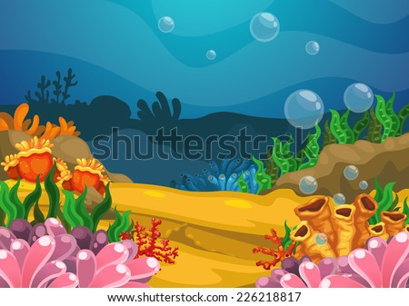 Illustration of under the sea background vector - stock vector