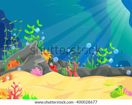 illustration of underwater landscape - stock vector