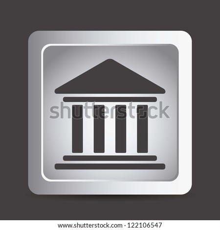 illustration of  university icons in gray button, vector illustration - stock vector