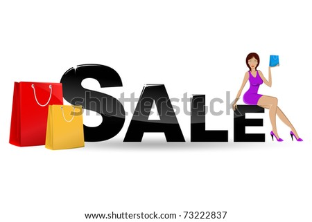 illustration of  urban lady sitting on sale text with shopping bag - stock vector