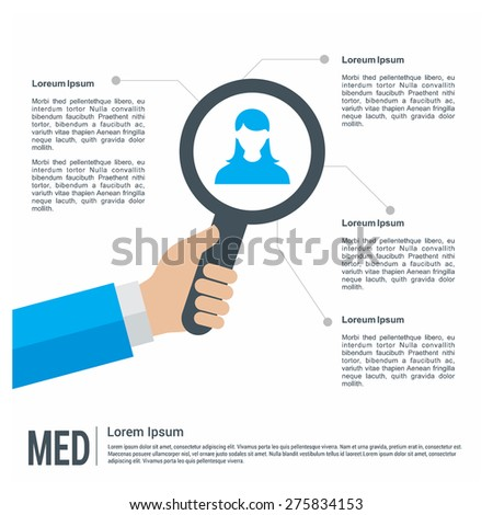 Illustration of user model and magnifier glass with place for text Medical healthcare infographics template. search quality people. we are hiring. vector illustration template - stock vector