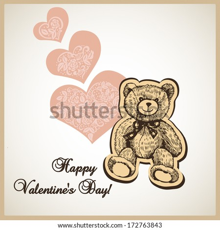 Illustration of Valentine's Day with hearts and teddy bear.   Illustration for greeting cards, invitations, and other printing and web projects. - stock vector