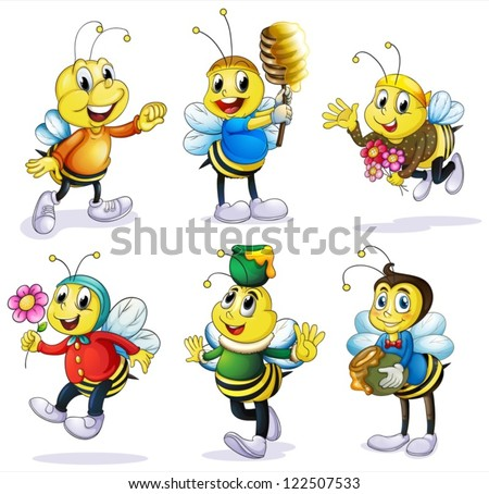 Illustration of various bees on a white background - stock vector