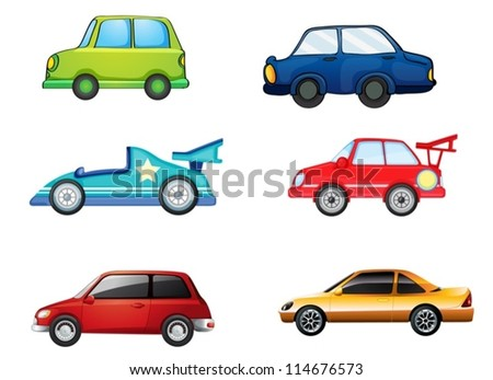 illustration of various cars on a white background - stock vector