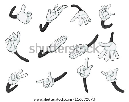 illustration of various hands on a white background - stock vector