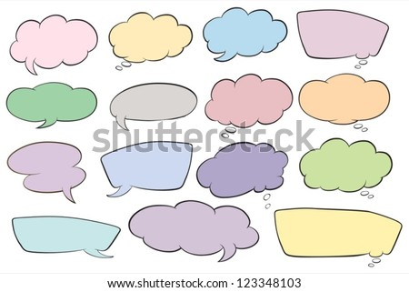 illustration of various shapes of callout on a white background - stock vector