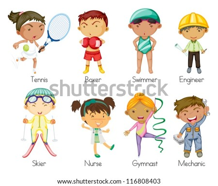 illustration of various sports kids on a white background - stock vector
