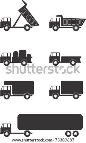 Illustration of various trucks and vehicles - stock vector