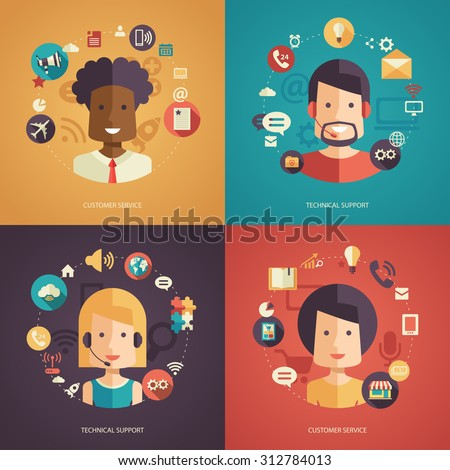 Illustration of vector flat design business composition with technical support - stock vector