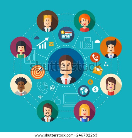 Illustration of vector flat design business team work composition - stock vector