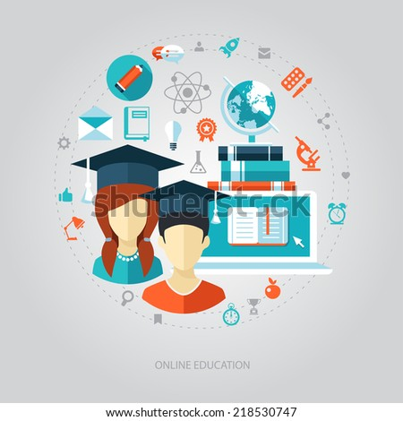 Illustration of vector flat design education composition - stock vector