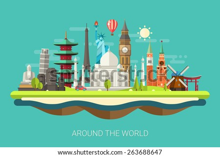 Illustration  of vector flat design postcard with famous world landmarks icons - stock vector