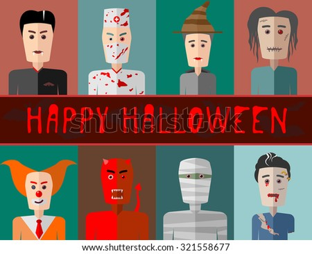 Illustration of vector flat design the heroes of Halloween - stock vector