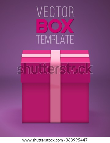 Illustration of Vector Gift Box. EPS10 Realistic 3D Vector Gift Box. Birthday Holiday Shiny Present Concept - stock vector