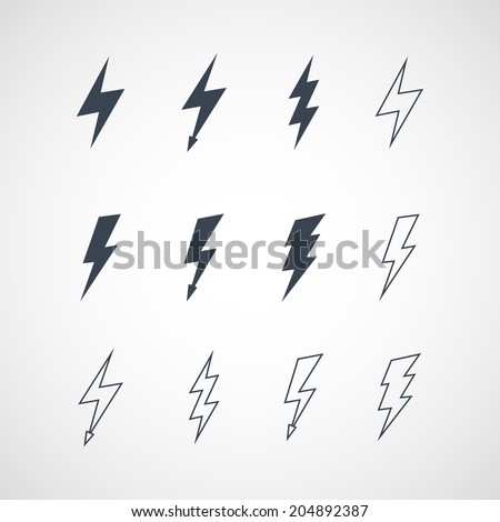 Illustration of vector lightning icon set - stock vector