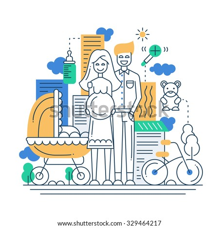 Illustration of vector modern line flat design city composition and infographics elements with a happy family - stock vector