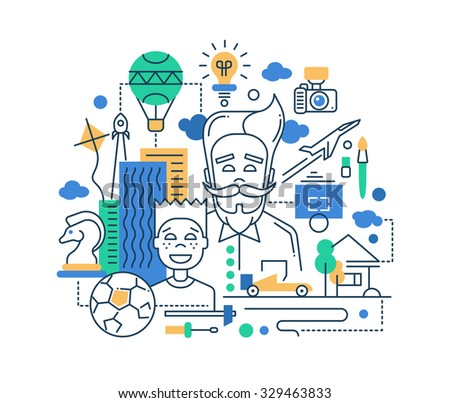 Illustration of vector modern line flat design happy father and son composition - stock vector