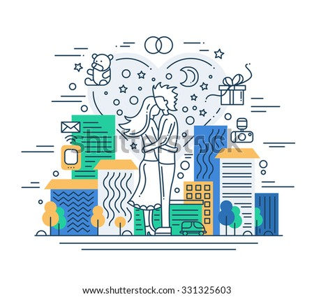 Illustration of vector modern line flat design love composition with cityscape and infographics elements - stock vector