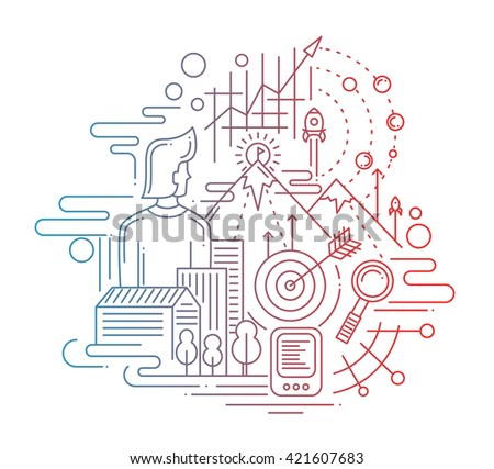 Illustration of vector modern line flat design mission composition and infographics elements with man and his aims, goals - color gradient - stock vector