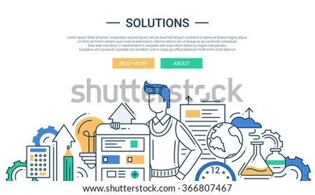 Illustration of vector modern line flat design solutions composition and infographics elements with a man and business tools - stock vector