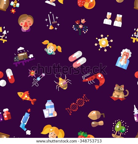Illustration of vector pattern with flat design allergy and allergen icons and infographics elements - stock vector