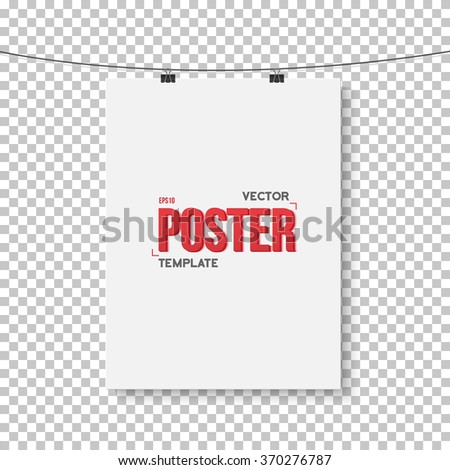 Illustration of Vector Poster Mockup. Realistic Vector EPS10 Paper Vertical Poster on Bended Wire Isolated on PS Style Transparent Background - stock vector