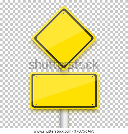 Illustration of Vector Road Yellow Sign. Realistic Vector EPS10 Isolated Road Sign - stock vector