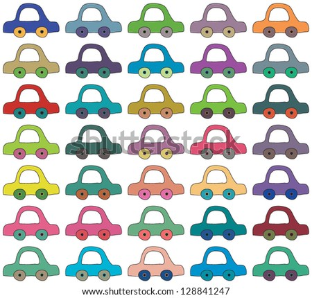 Illustration of vector seamless background made from simple cartoon cars - stock vector