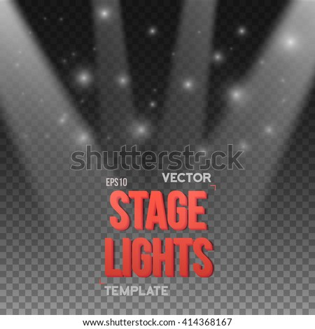 Illustration of Vector Transparent Studio Stage Light Effect. EPS10 Stage Light Illuminating Podium. Bright Stage Light Effect. Transparent Studio Stage Light Effect on Transparent Overlay Background - stock vector