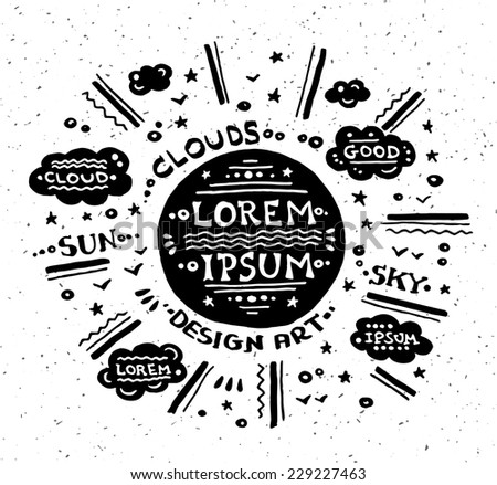 Illustration of vector vintage grunge label with sun - stock vector
