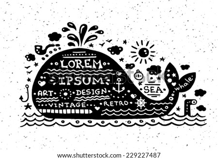 Illustration of vector vintage grunge label with whale - stock vector