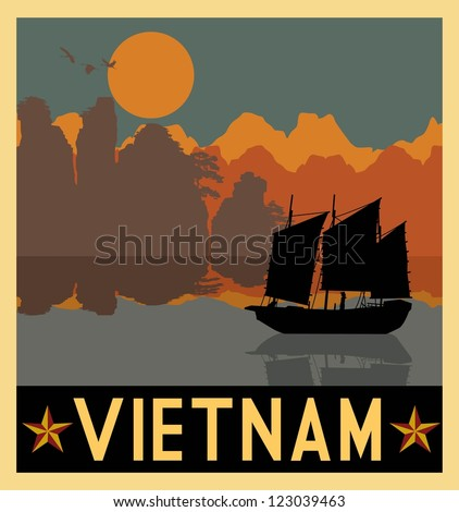 Illustration of Vietnam seascape with ship and mountains, Vector - stock vector