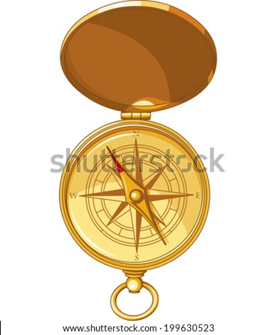 Illustration of vintage compass with a windrose  - stock vector