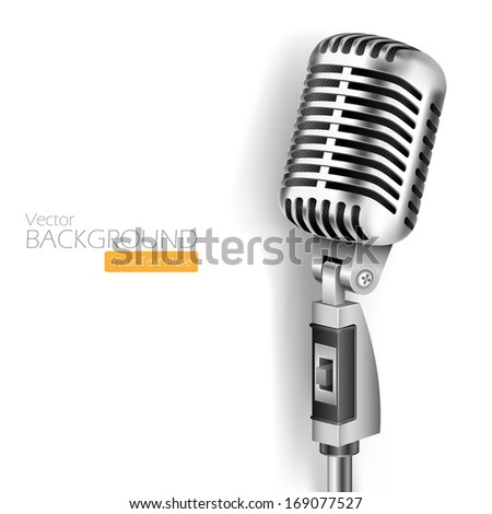 illustration of Vintage Microphone on white background - stock vector