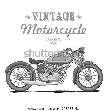 illustration of vintage motorcycle on white background - stock vector