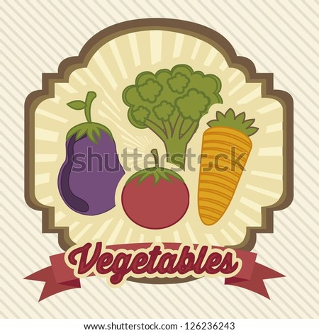 illustration of vintage style vegetables and fruits, vector illustration - stock vector