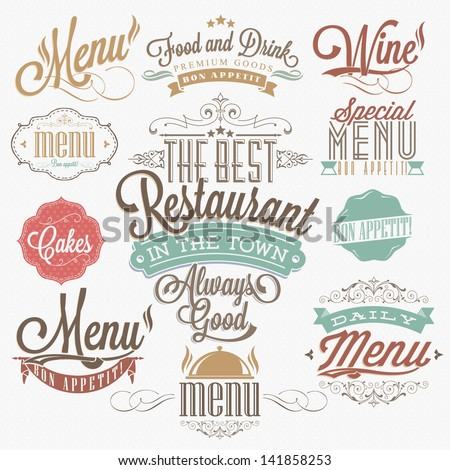 Illustration of  Vintage Typographical  Element for Menu - stock vector