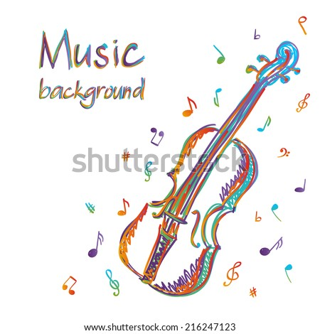 Illustration of violin music background, doodle style - stock vector