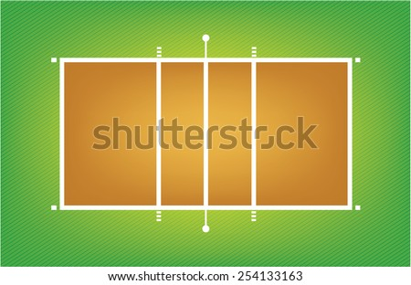 Illustration of volleyball court or field - stock vector