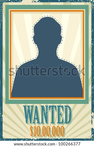 illustration of wanted retro poster with space for photo - stock vector