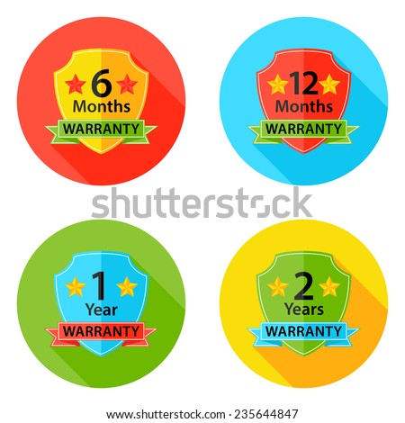 Illustration of Warranty Flat Circle Icons Set 1 with Shadow. 6 months, 12 months, 1 year, 2 years. - stock vector
