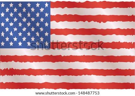 illustration of waving American Flag - stock vector