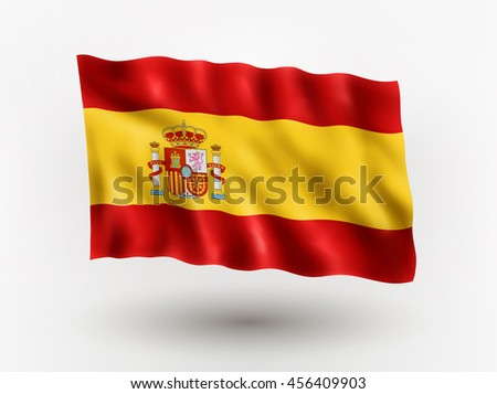 Illustration of waving flag of Spain, isolated flag icon, EPS 10 contains transparency. - stock vector