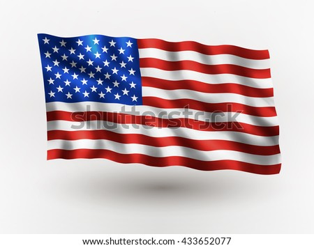 Illustration of waving USA flag, isolated flag icon, EPS 10 contains transparency. - stock vector