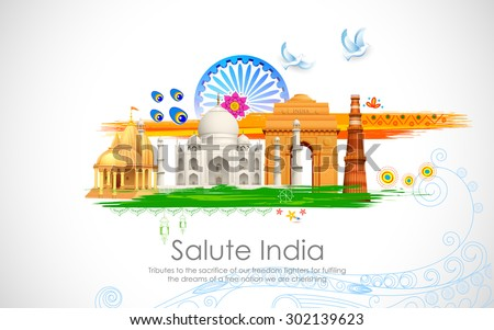 illustration of wavy Indian flag with monument - stock vector