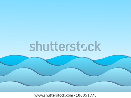 Illustration of wavy sea (ocean) water with a free copy space - stock vector