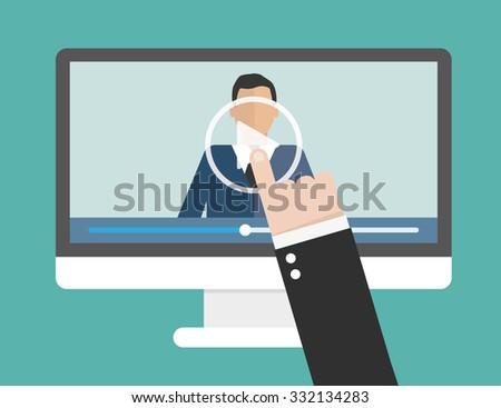 illustration of webinar, online conference and training. Flat. Vector illustration - stock vector