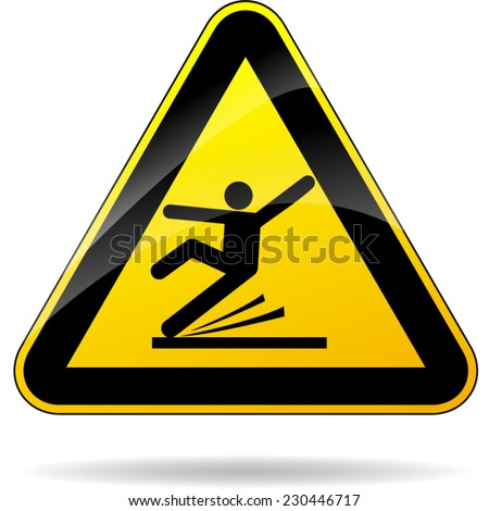 illustration of wet floor triangular yellow sign - stock vector