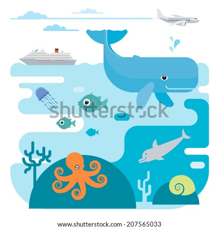 Illustration of whale, fish, jellyfish, octopus, dolphin and ship. Illustration of whale, fish, jellyfish, octopus, dolphin and ship. - stock vector